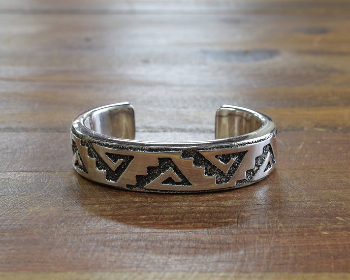 Heavy Sterling Silver Overlay Cuff Bracelet By Ronnie Hurley