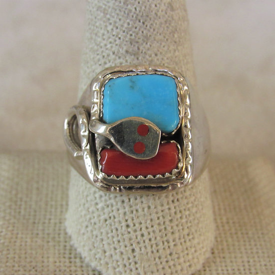 Effie C Zuni Sterling Silver,Coral and Turquoise Ring Size 10.75