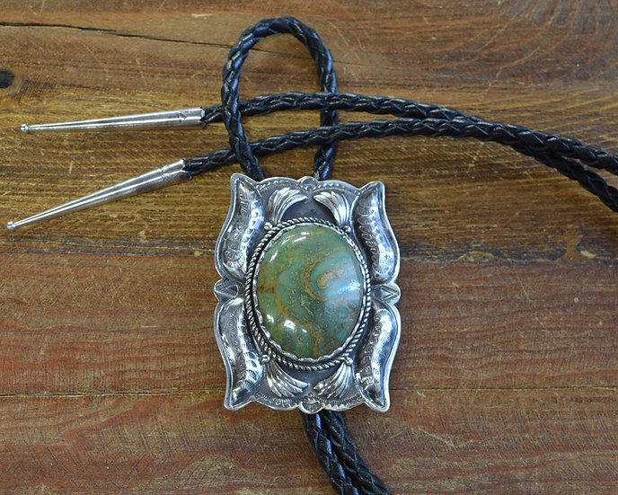 Vintage Southwestern Sterling Silver And Green Turquoise Bolo Tie