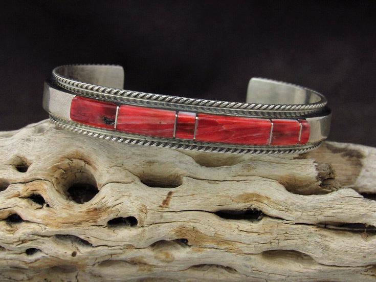 Southwestern Sterling Silver Red Spiny Oyster Inlay Cuff Bracelet