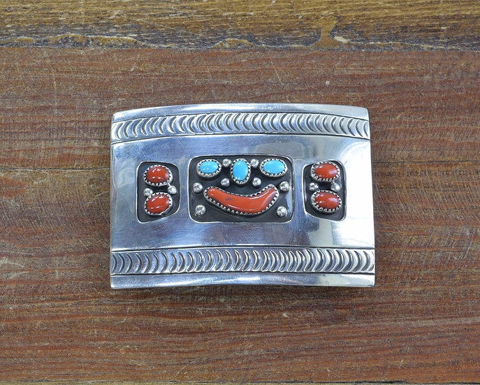 Vintage Southwest Turquoise and Coral Sterling Silver Belt Buckle