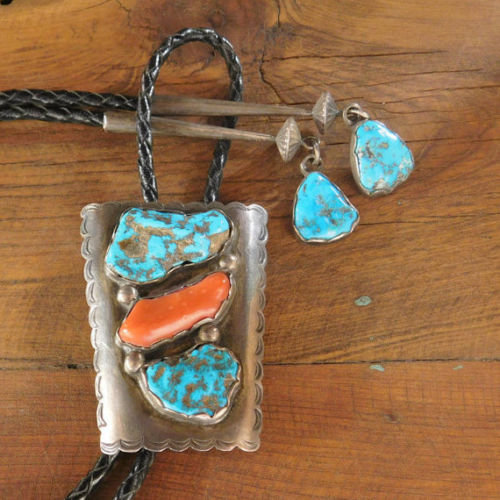 Vintage Zuni Sterling Silver, Turquoise, and Coral Bolo Tie