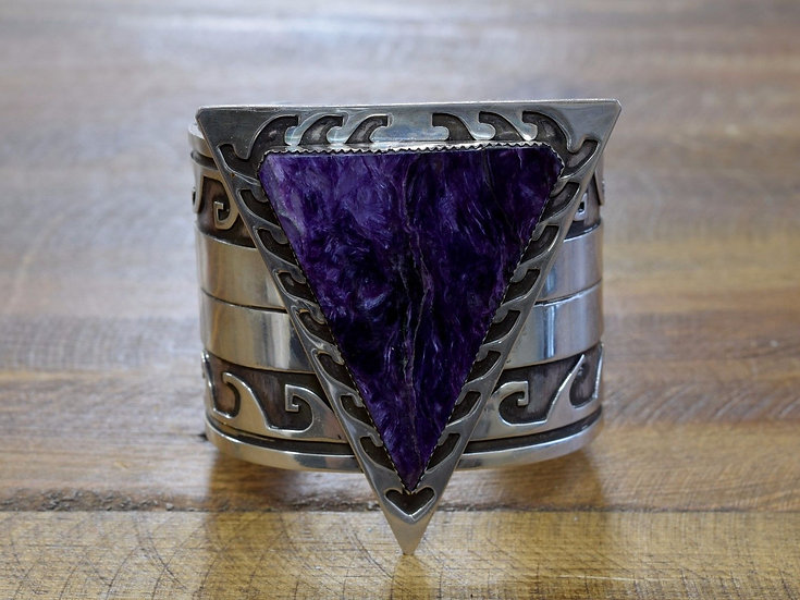 Vintage Handmade Charoite Overlay Sterling Silver Cuff Bracelet