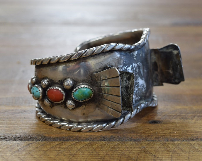 Vintage Navajo Sterling Silver Turquoise And Coral Watch Cuff Bracelet