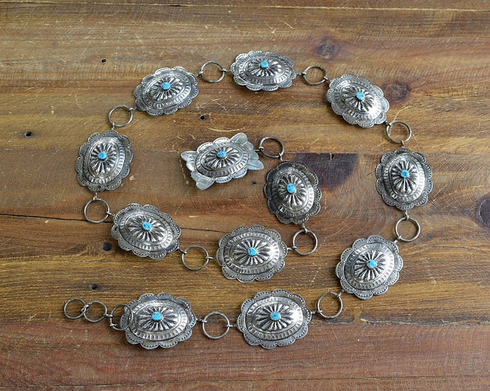 Vintage Navajo Sterling Silver And Turquoise Link Concho Belt