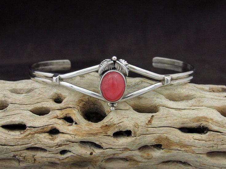 Lovely Sterling Silver Rhodochrosite Cuff Bracelet