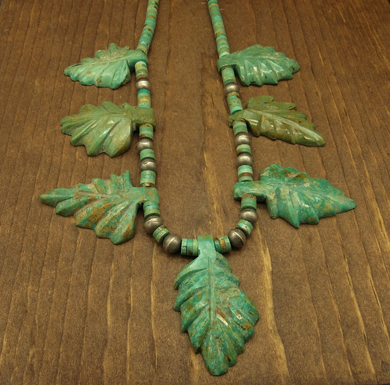 Striking Green Turquoise Carved Leaves and Silver Beads Necklace