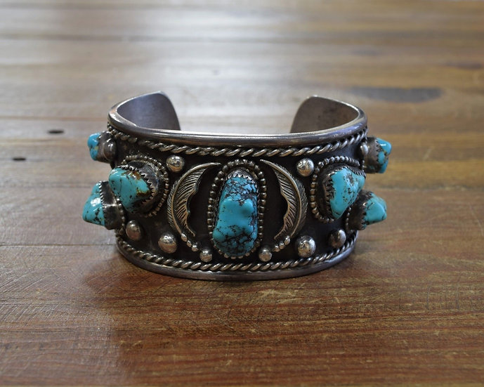 Vintage Navajo Sterling Silver and Turquoise Wide Cuff Bracelet