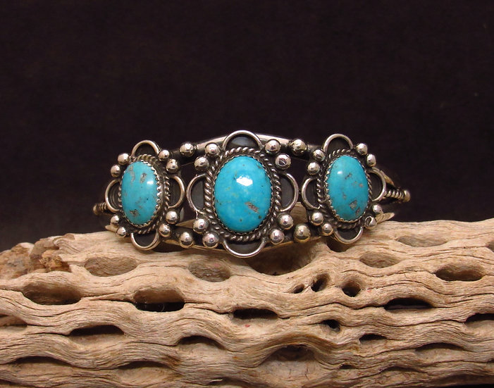 Navajo Sterling Silver Turquoise Flower Cuff Bracelet
