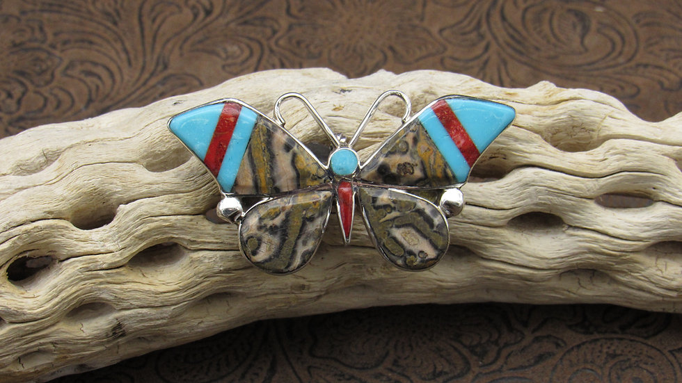 Butterfly Multi Stone Inlay Sterling Silver Pin/Pendant