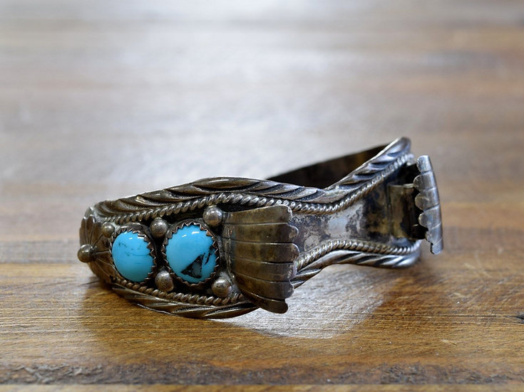 Vintage Navajo Sterling Silver And Turquoise Watch Cuff