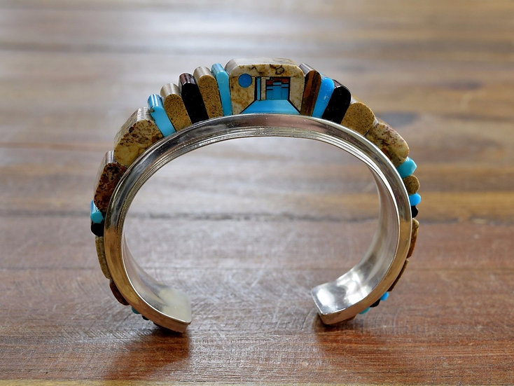 Vintage Navajo Multi-Stone Cobblestone Inlay Sterling Silver Cuff Bracelet