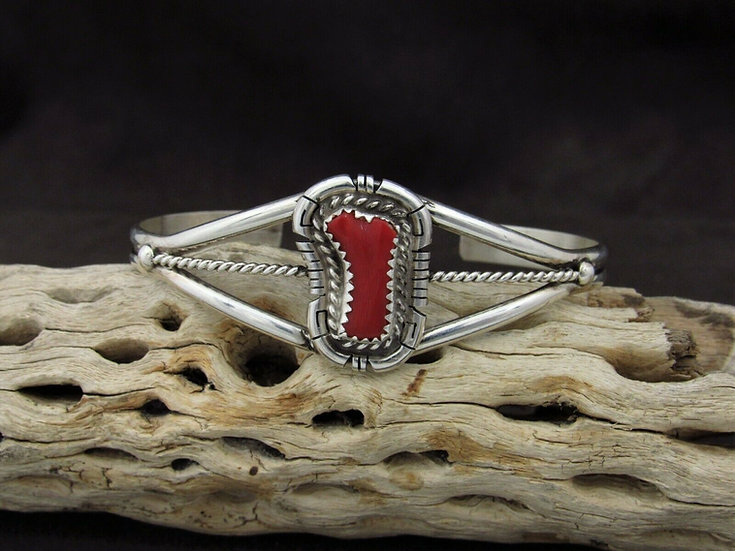 Navajo Sterling Silver Cuff Bracelet With Red Coral By D. Skeets
