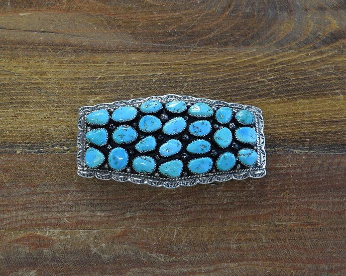 Vintage Sterling Silver Turquoise Cluster Belt Buckle
