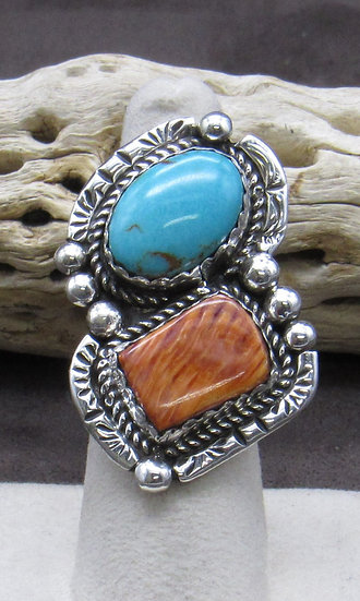 Captivating Turquoise and Spiny Oyster Ring Size 6 3/4