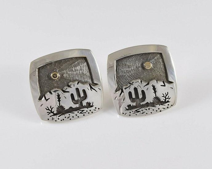 Saguaro Desert Scene Sterling Silver & 14K Gold Overlay Earrings by Rick Manuel