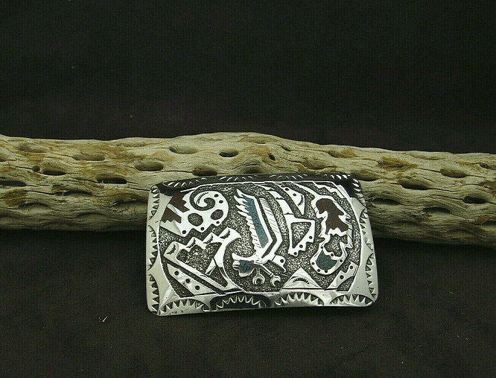 Sterling Silver Navajo Chip Inlay Eagle Belt Buckle by Raymond Begay