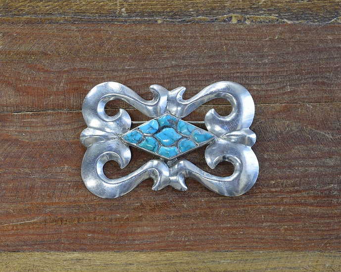 Southwest Cast Pin with Turquoise Inlay Center