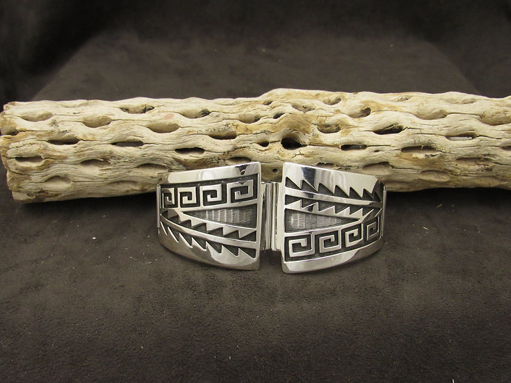 Hopi Overlay Sterling Silver Watch Band