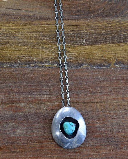 Southwest Sterling Silver and Turquoise Shadow Box Necklace