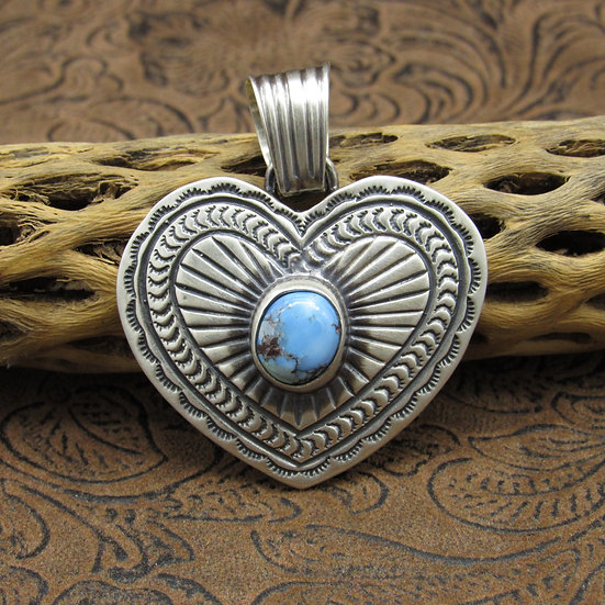 Sterling Silver Golden Hills Turquoise Pendant by Jane Delgarito