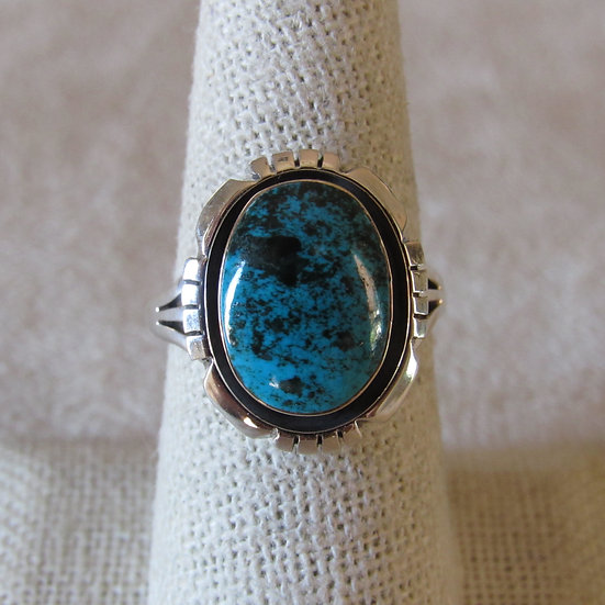 Amos Begay Sterling Silver and Beautiful Turquoise Ring Size 8.25