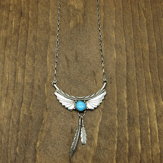 Navajo Vintage Sterling Silver and Turquoise Necklace
