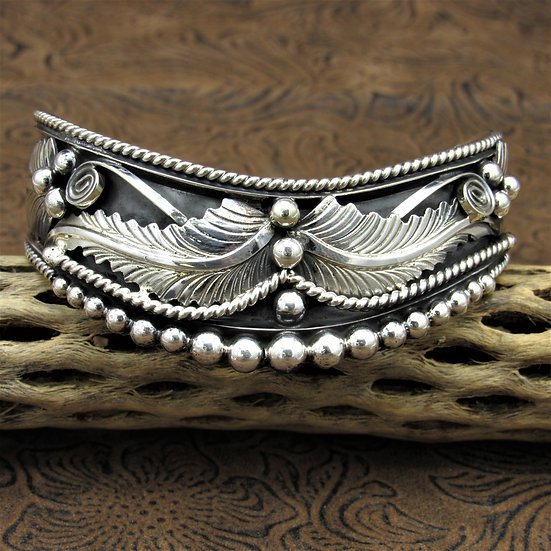 Navajo Sterling Silver Sweater Cuff Bracelet by Running Bear Workshop