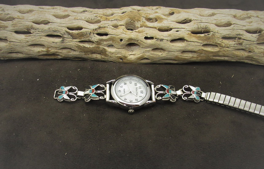Sterling Silver Inlay Butterfly Watch Band