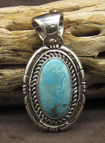 Navajo Handcrafted Blue Turquoise Sterling Silver Pendant