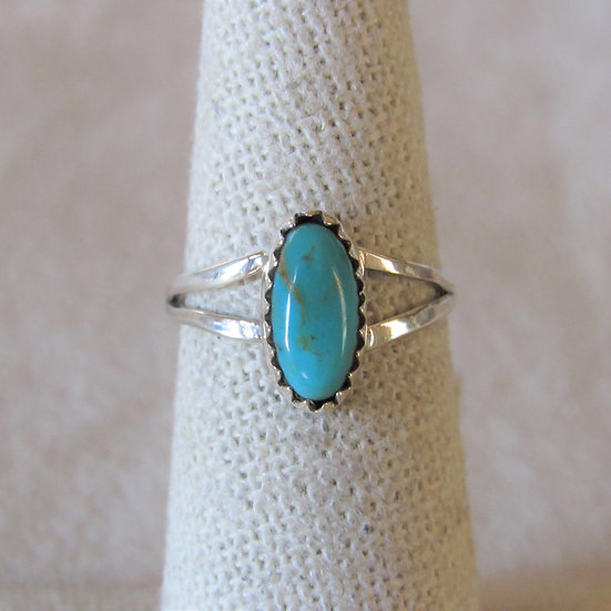 Sterling Silver and Turquoise Ladies Ring Size 6 By Robert Martinez
