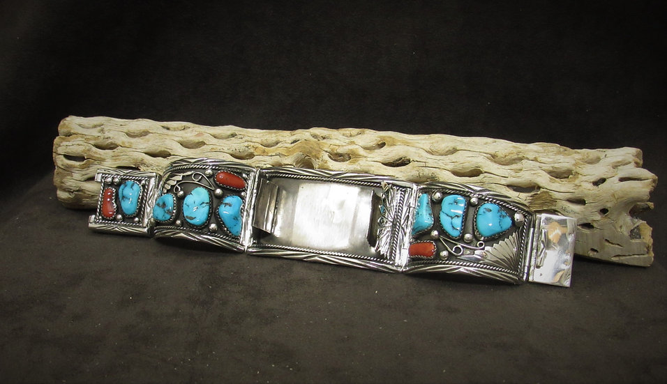 Turquoise and Coral Sterling Silver Watch Band Bracelet