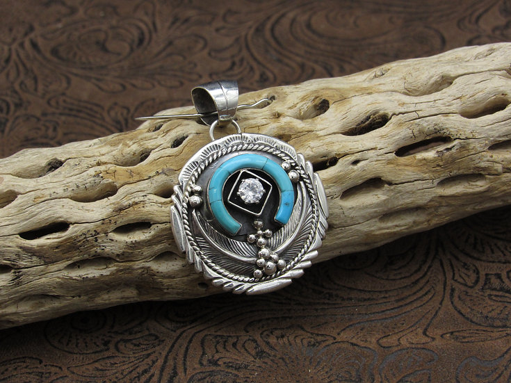 Sterling Silver Turquoise and CZ Horseshoe Pendant