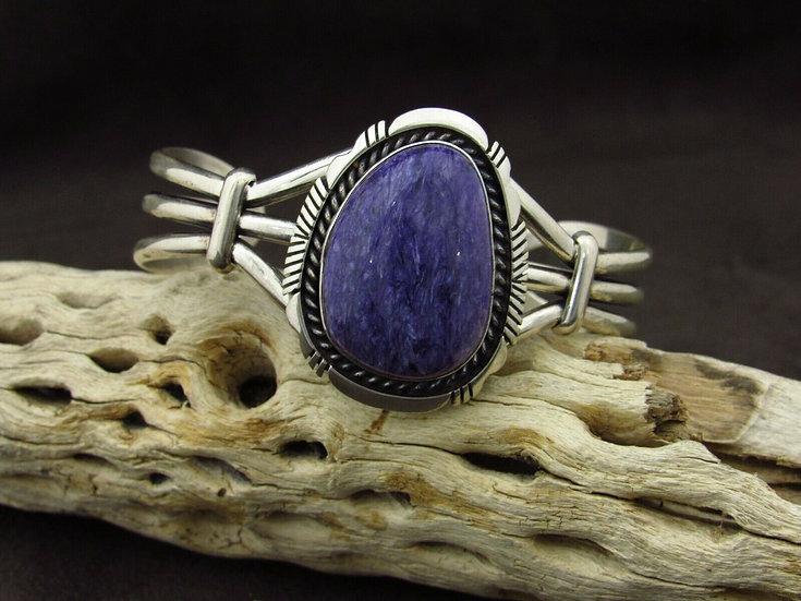Navajo Charoite Sterling Silver Cuff Bracelet by Eugene Belone