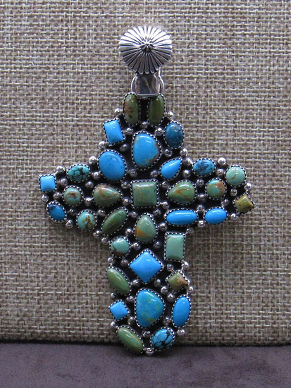 Sterling Silver Turquoise Cluster Cross Large Pendant