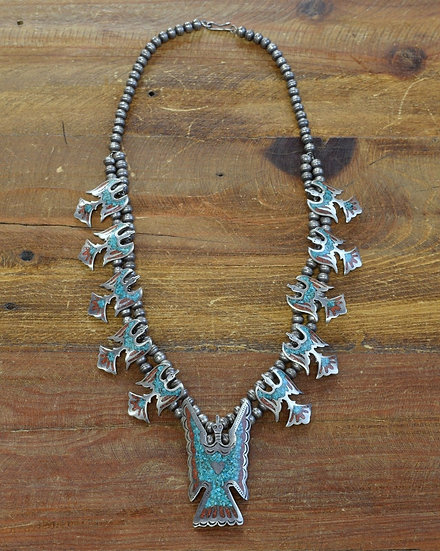 Vintage Peyote Bird Chip Inlay Squash Blossom Necklace
