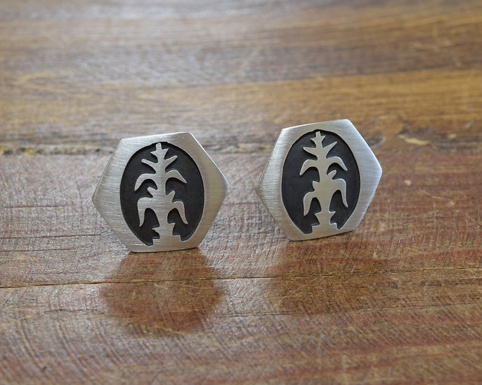 Sterling Silver Southwest Cuff Links with Corn Design