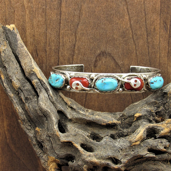 Vintage Zuni Turquoise and Coral Sterling Silver Cuff Bracelet by Effie Calavaza