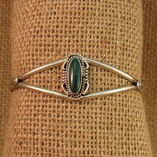Navajo Malachite Sterling Silver Cuff Bracelet