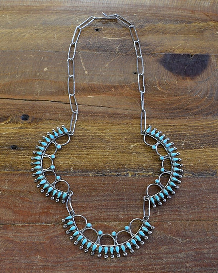 Vintage Southwestern Petit Point Turquoise Sterling Silver Necklace