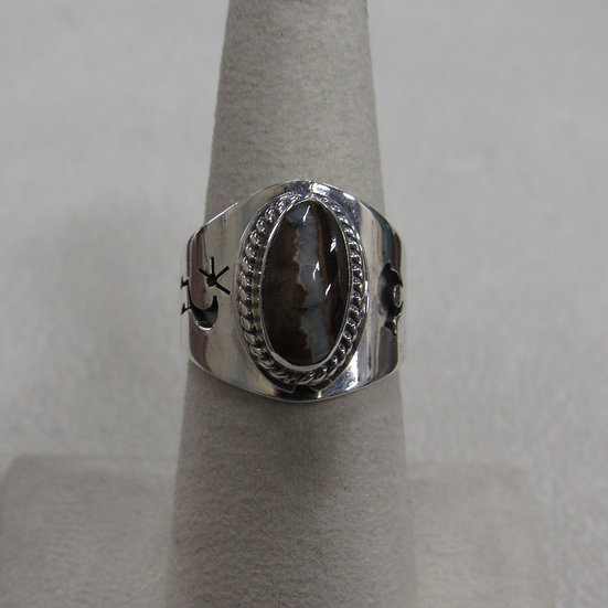 Sterling Silver and Brown Stone Ladies Ring Size 6.75