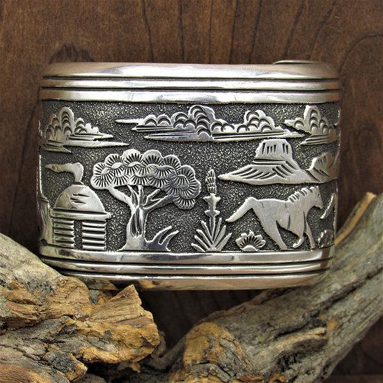 Vintage Navajo Sterling Silver Overlay Cuff Bracelet by Tommy Singer