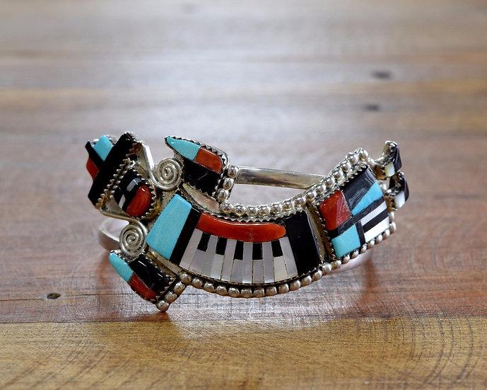 Vintage Zuni Rainbow Yei Multi-Stone Inlay Sterling Silver Cuff Bracelet