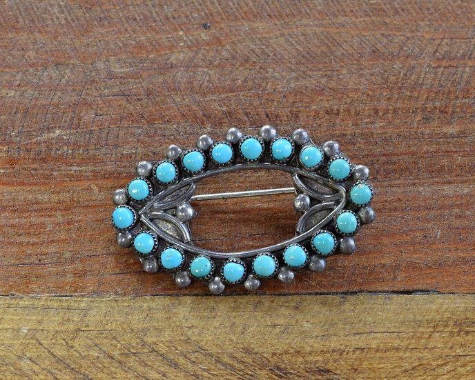 Vintage Sterling Silver and Turquoise Southwest Brooch/Pin