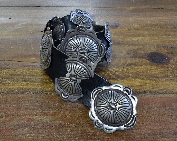 Vintage Southwestern Sterling Silver Concho Belt