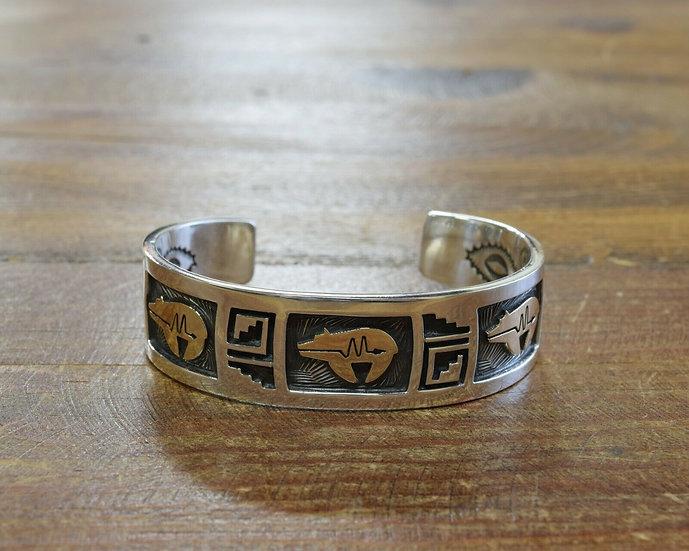 Vintage Navajo Sterling Silver and 14K Overlay Bear Cuff Bracelet by Arland Benn