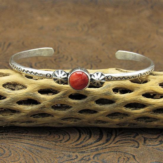 Sterling Silver Southwestern Round Red Spiny Oyster Cuff Bracelet