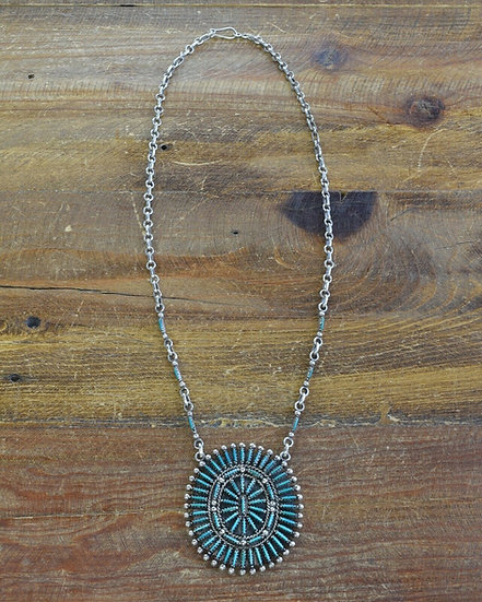 Vintage Navajo Sterling Silver and Turquoise Needlepoint Necklace by Ben Yazzie