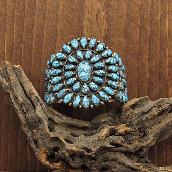 Vintage Sterling Silver Turquoise Cluster Cuff Bracelet