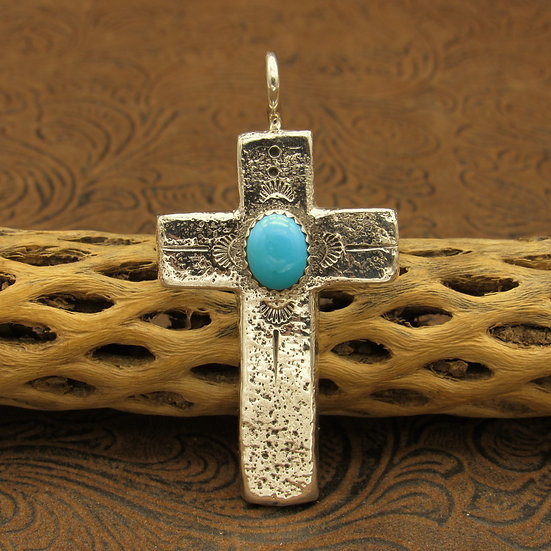 Sandcast Sterling Silver Turquoise Pendant by Gilbert Begay